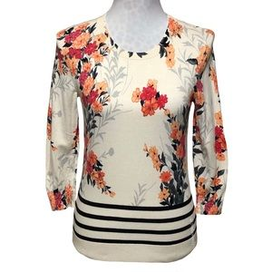 Talbots Floral & Striped Sweater